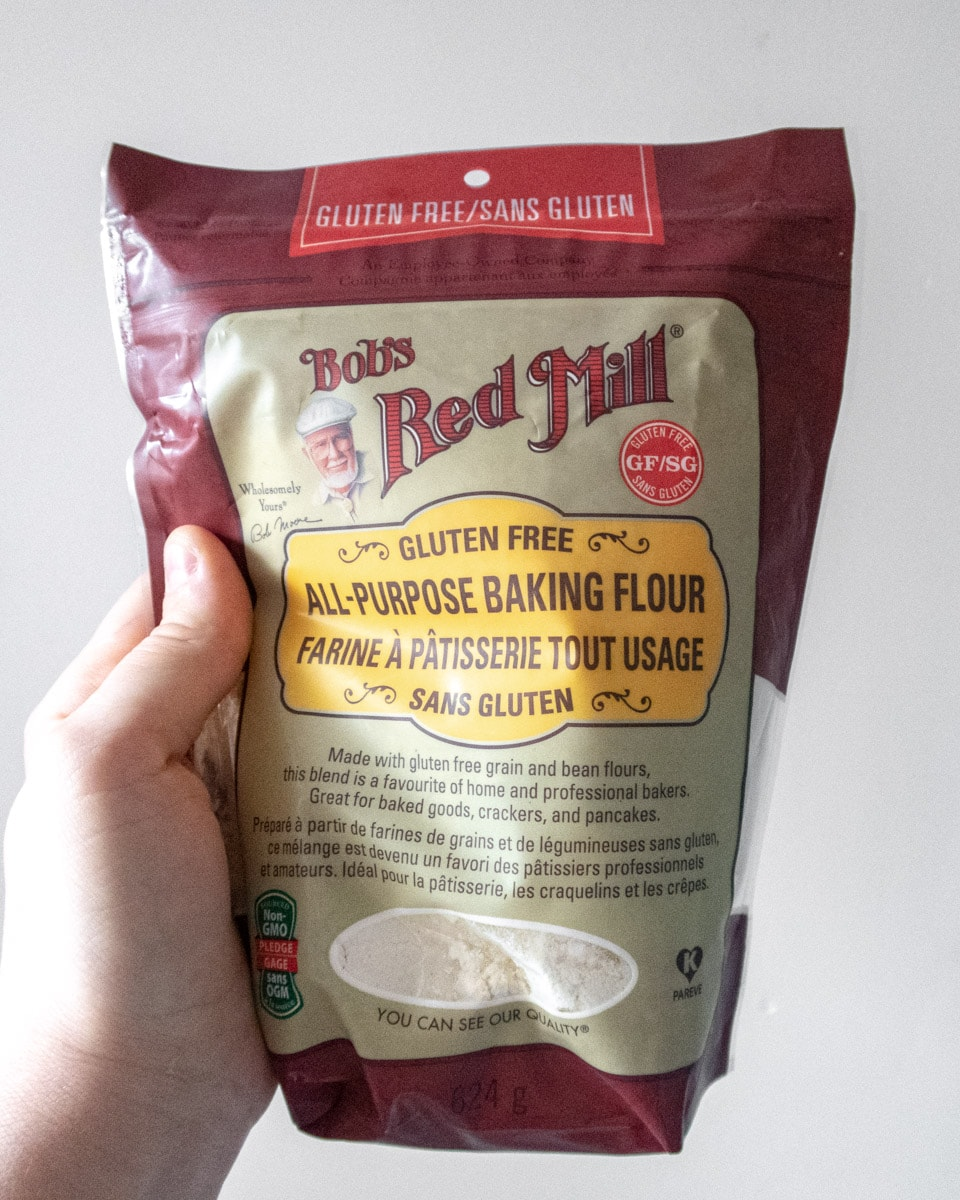 A bag of Bob's red Mill gluten-free all-purpose baking flour