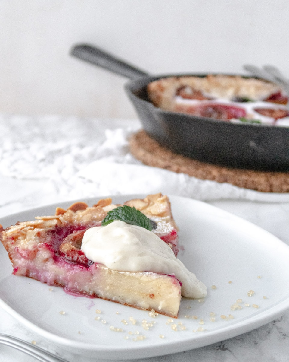 slice of vegan clafoutis on a plate