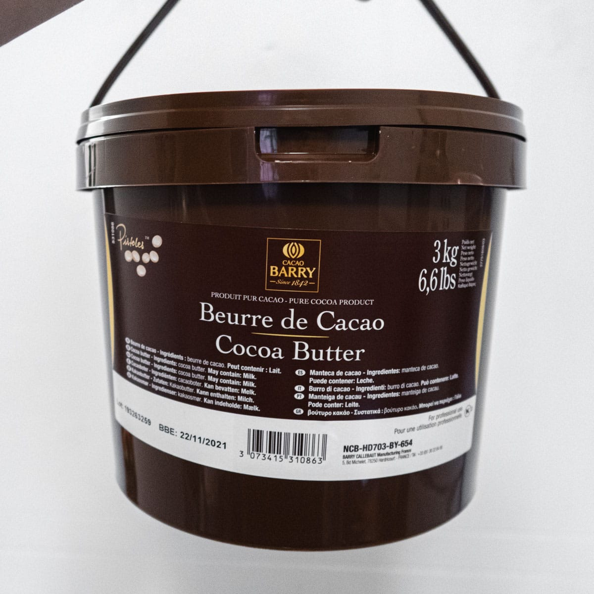 Cacao Barry cacao butter 3kg tub